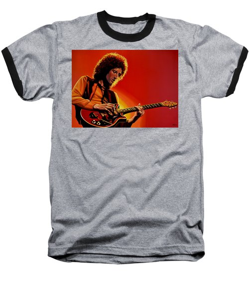 Brian May Of Queen Painting Baseball T-Shirt by Paul Meijering