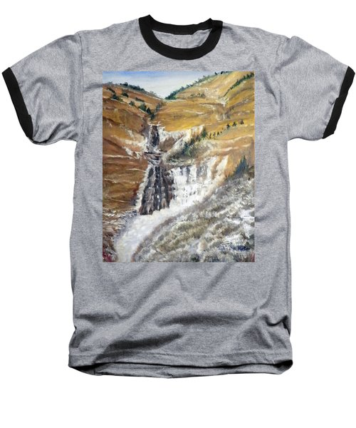 Baseball T-Shirt featuring the painting Bridal Veil Falls In Winter by Sherril Porter
