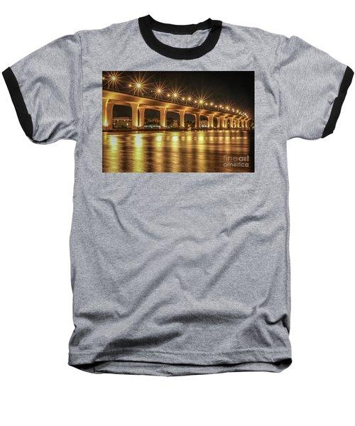 Bridge And Golden Water Baseball T-Shirt by Tom Claud