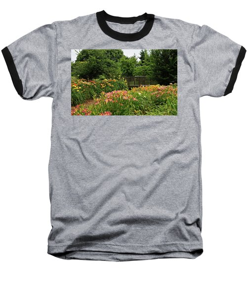Baseball T-Shirt featuring the photograph Bridge In Daylily Garden by Sandy Keeton