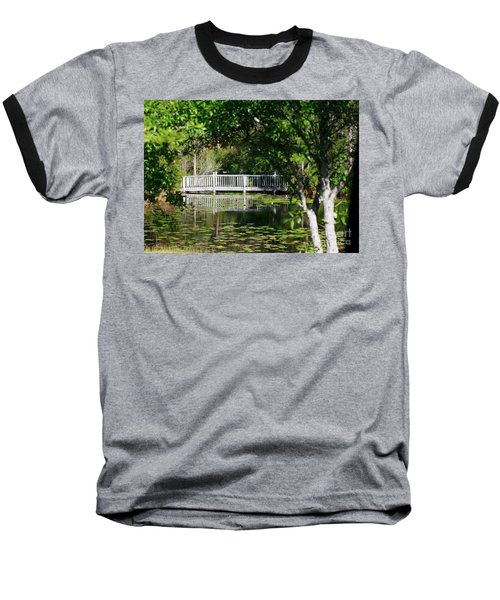 Bridge On Lilly Pond Baseball T-Shirt by Lori Mellen-Pagliaro