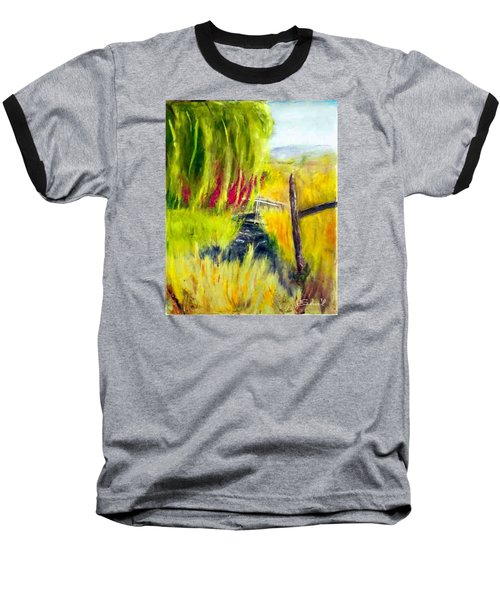 Baseball T-Shirt featuring the painting Bridge Over Small Stream by Sherril Porter
