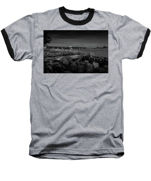 Bridge To Longboat Key In Bw Baseball T-Shirt