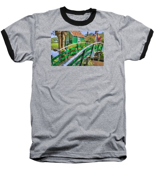 Bridge To The Village Baseball T-Shirt by Nadia Sanowar