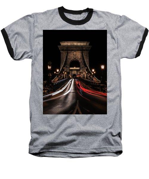 Bridges Of Budapest - Chain Bridge Baseball T-Shirt by Jaroslaw Blaminsky