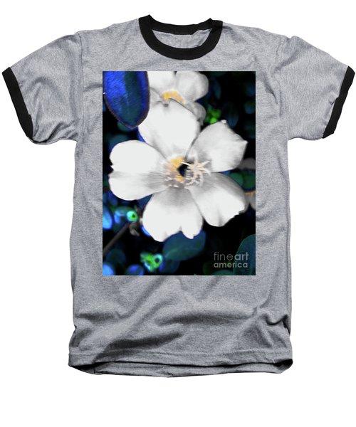 Bright Blue Accents White Vinca Baseball T-Shirt