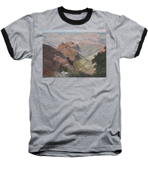 Bright Angel Trail Looking North To Plateau Point, Grand Canyon Baseball T-Shirt by Barbara Barber