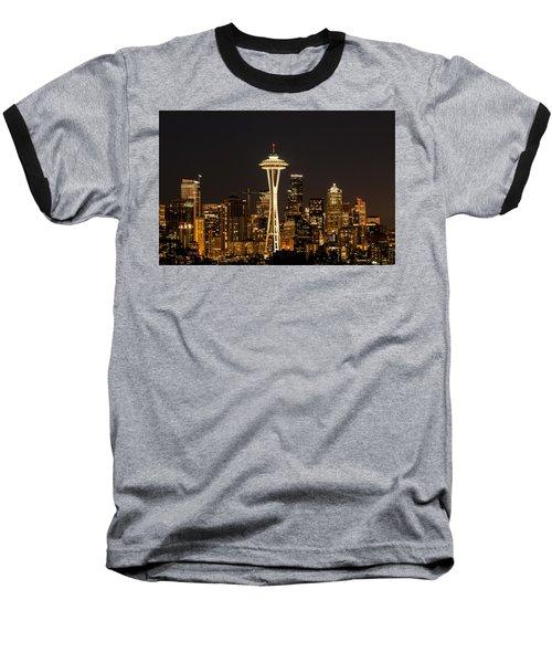 Bright At Night - Space Needle Baseball T-Shirt by E Faithe Lester