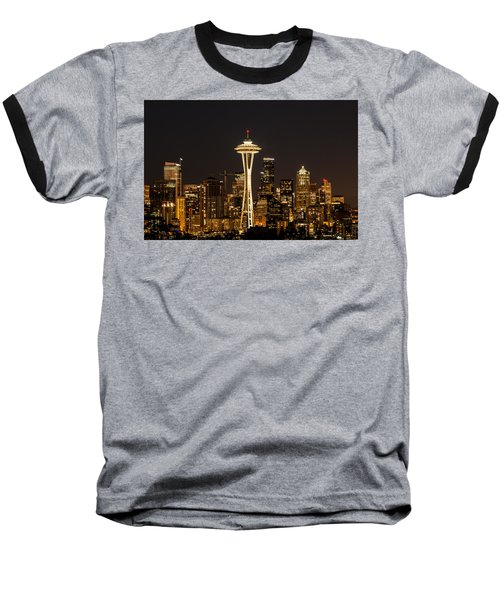 Bright At Night - Space Needle Baseball T-Shirt