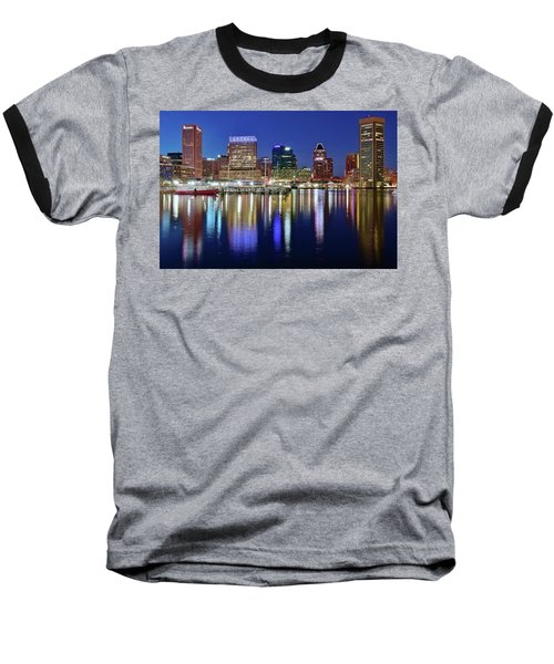 Baseball T-Shirt featuring the photograph Bright Blue Baltimore Night by Frozen in Time Fine Art Photography