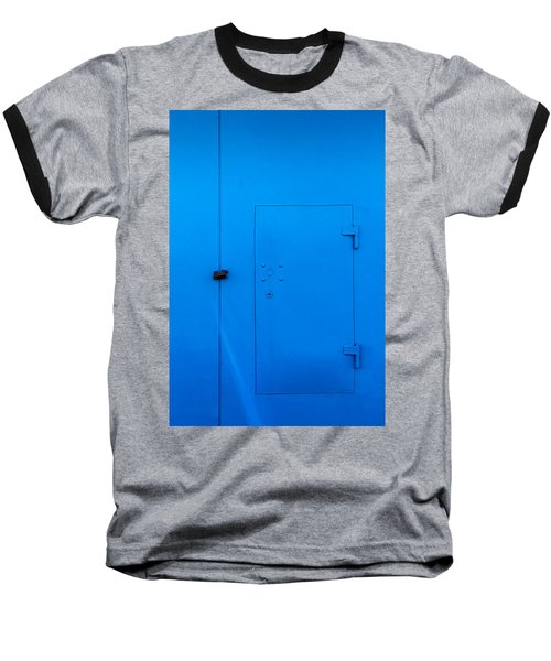 Bright Blue Locked Door And Padlock Baseball T-Shirt