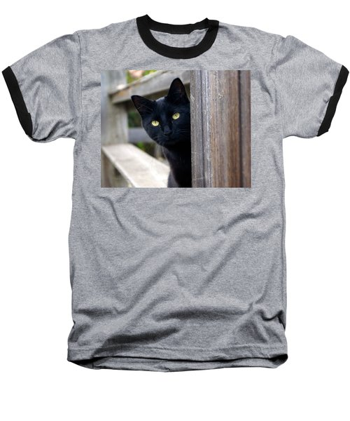 Bright Eyed Kitty Baseball T-Shirt