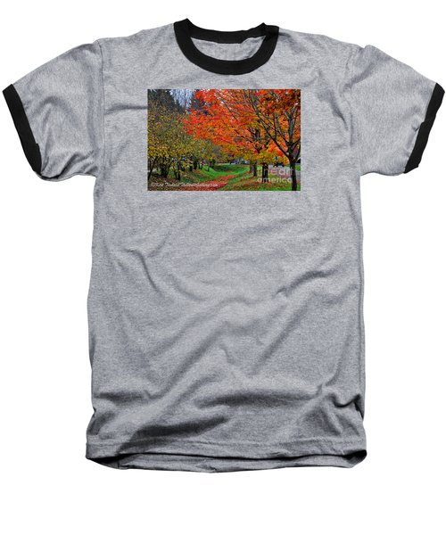 Baseball T-Shirt featuring the digital art Bright Orange Fall Colors by Kirt Tisdale