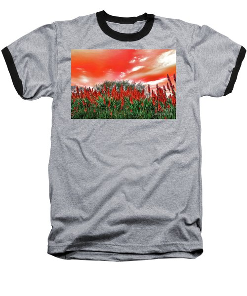 Baseball T-Shirt featuring the photograph Bright Red Aloe Flowers By Kaye Menner by Kaye Menner