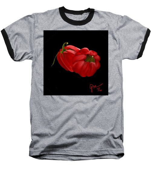 Bright Red Peppers Baseball T-Shirt