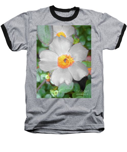 Bright White Vinca With Soft Green Baseball T-Shirt