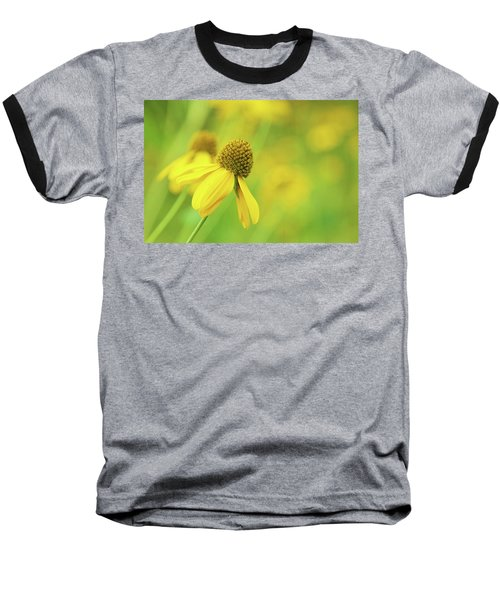 Bright Yellow Flower Baseball T-Shirt by David Stasiak