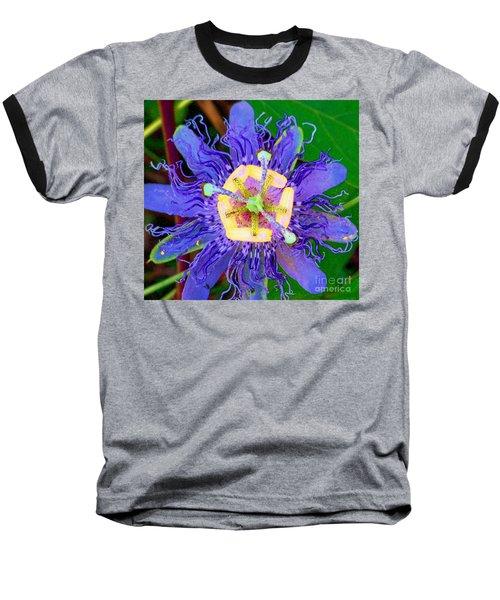 Brilliant Blue Flower Baseball T-Shirt