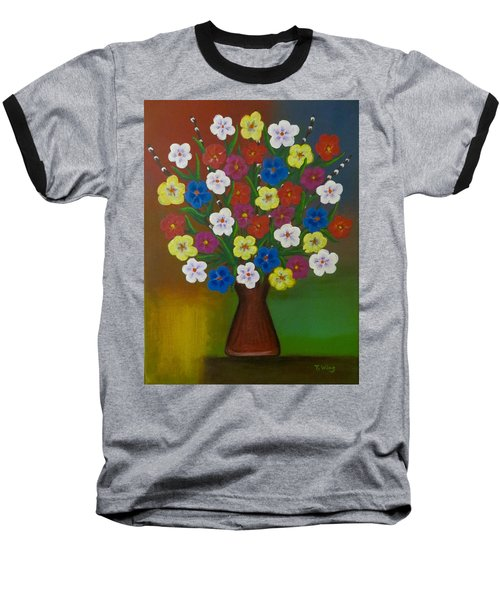 Brilliant Bouquet Baseball T-Shirt by Teresa Wing