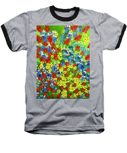 Brilliant Florals Baseball T-Shirt by George Riney