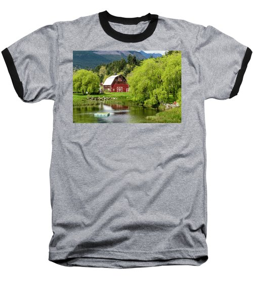 Brinnon Washington Barn Baseball T-Shirt by Teri Virbickis