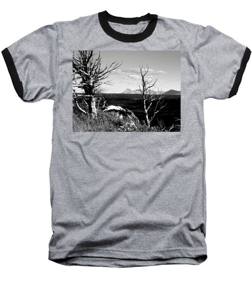 Bristle Cone Pines With Divide Mountain In Black And White Baseball T-Shirt
