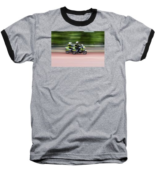 British Police Motorcycle Baseball T-Shirt