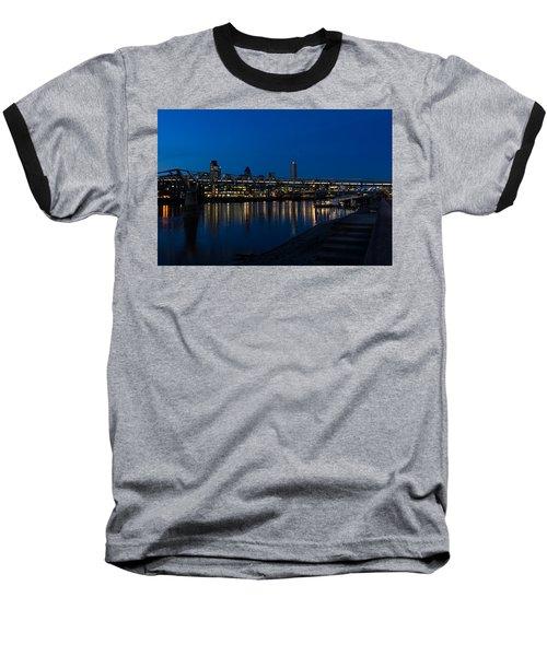 British Symbols And Landmarks - Millennium Bridge And Thames River At Low Tide Baseball T-Shirt