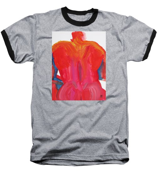 Baseball T-Shirt featuring the painting Broad Back Red by Shungaboy X