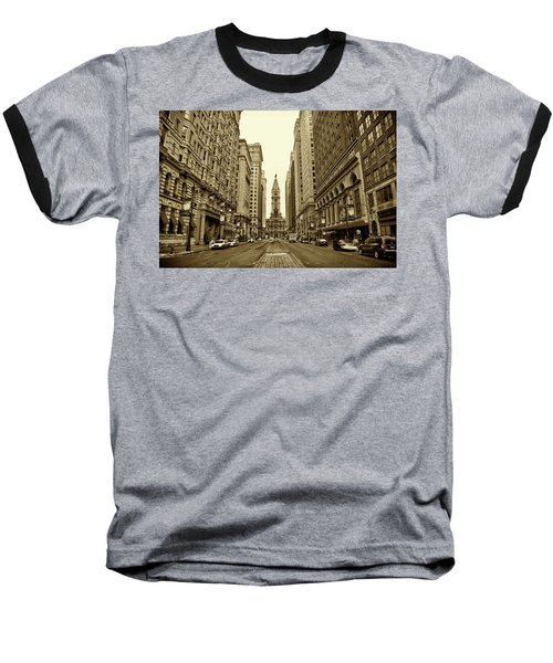 Broad Street Facing Philadelphia City Hall In Sepia Baseball T-Shirt