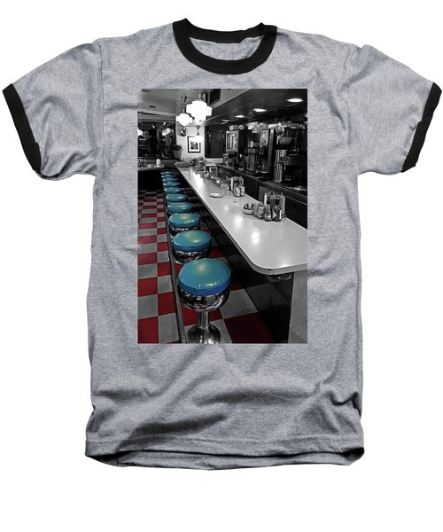 Broadway Diner Chairs Baseball T-Shirt by Christopher McKenzie