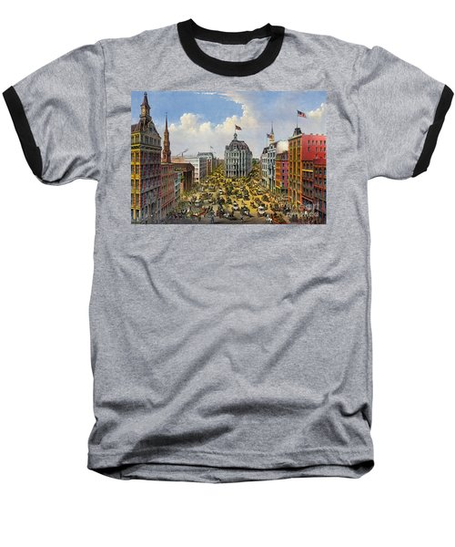 Broadway New York City 1875 Baseball T-Shirt by Padre Art