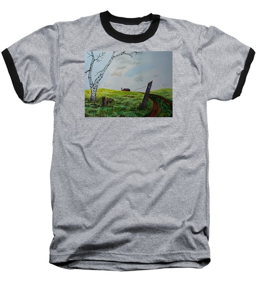 Baseball T-Shirt featuring the painting Broken Fence by Jack G  Brauer