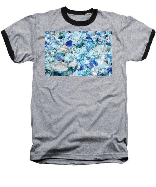 Broken Glass Blue Baseball T-Shirt