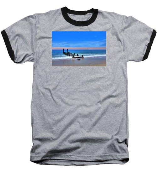 Baseball T-Shirt featuring the digital art Broken Pier by Sharon Batdorf