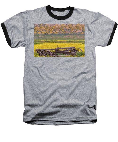 Broken Wagon In A Field Of Flowers Baseball T-Shirt by Marc Crumpler