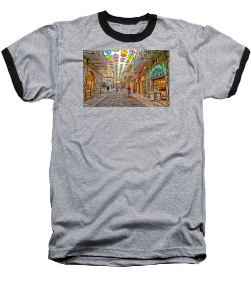 Brollies Over Jerusalem Baseball T-Shirt by Uri Baruch