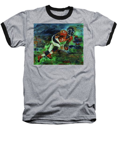 Broncos - Orange And Blue Horse Power Baseball T-Shirt by Walter Fahmy