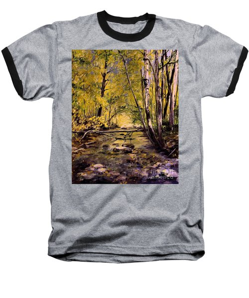 Brook In Stowe Vermont Baseball T-Shirt by Laurie Rohner