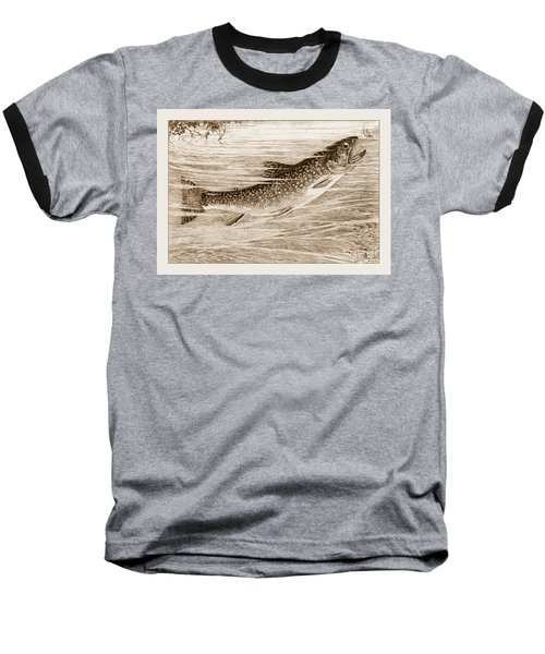 Brook Trout Going After A Fly Baseball T-Shirt by John Stephens