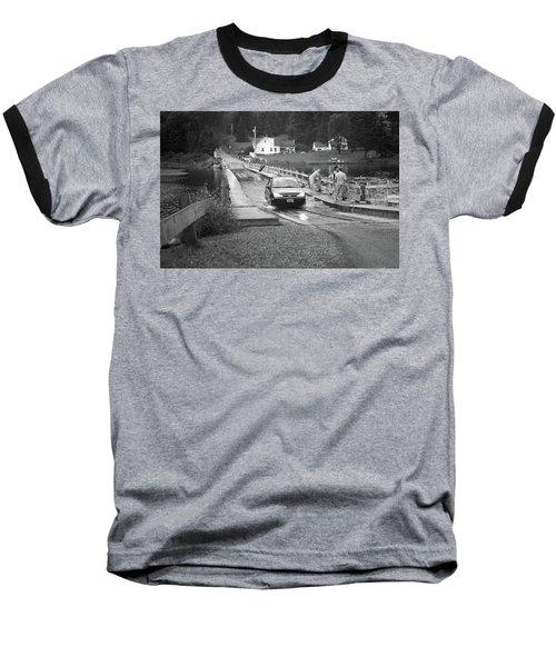 Baseball T-Shirt featuring the photograph Brookfield, Vt - Floating Bridge 3 Bw by Frank Romeo
