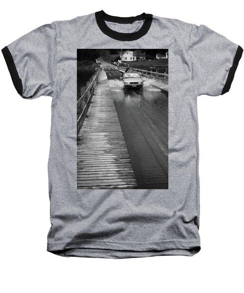 Baseball T-Shirt featuring the photograph Brookfield, Vt - Floating Bridge Bw by Frank Romeo
