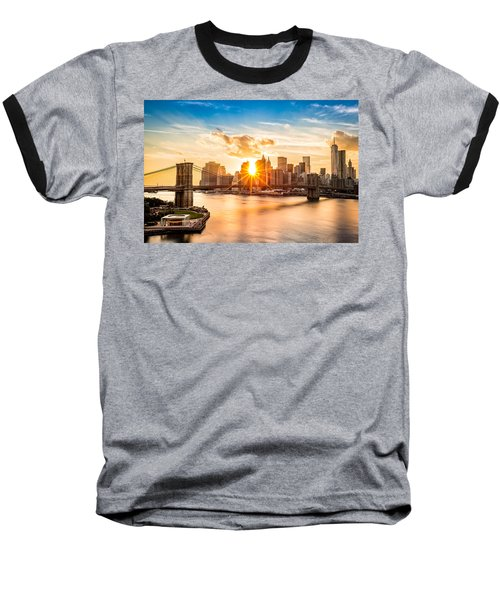 Brooklyn Bridge And The Lower Manhattan Skyline At Sunset Baseball T-Shirt