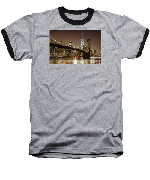 Brooklyn Bridge At Night Baseball T-Shirt