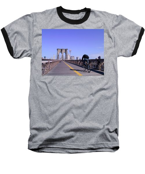 Brooklyn Bridge Bicyclist Baseball T-Shirt