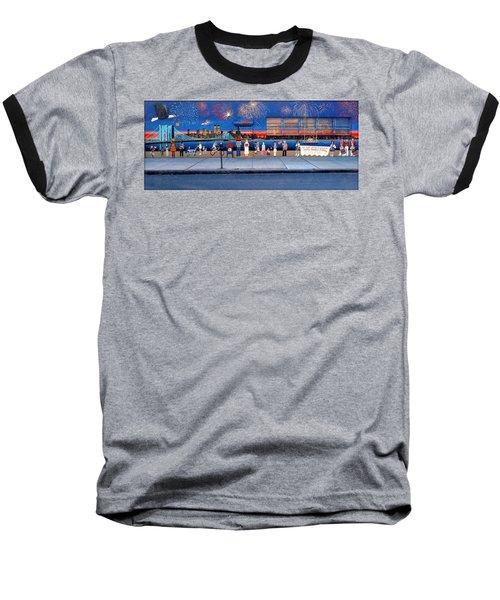 Brooklyn Bridge Fireworks Baseball T-Shirt