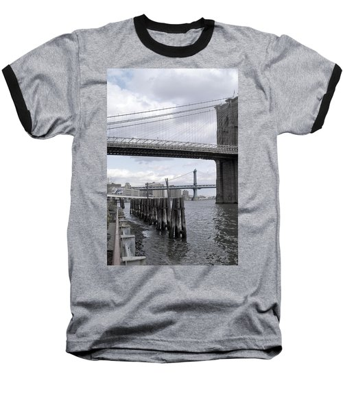 Brooklyn Bridge II Baseball T-Shirt by Henri Irizarri