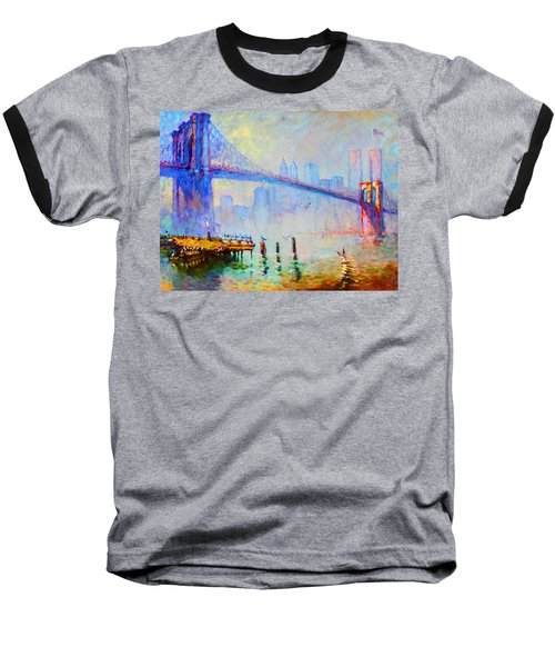 Brooklyn Bridge In A Foggy Morning Baseball T-Shirt by Ylli Haruni