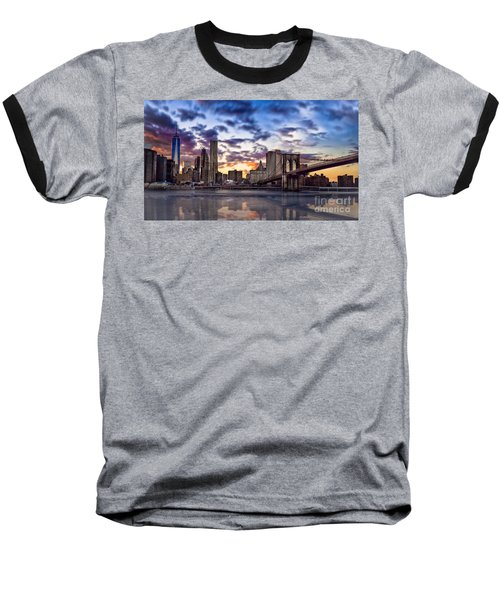 Brooklyn Bridge Manhattan Sunset Baseball T-Shirt