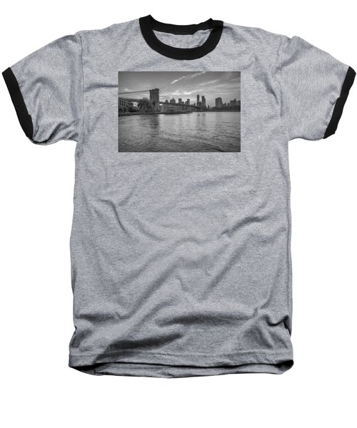 Brooklyn Bridge Monochrome Baseball T-Shirt by Scott McGuire